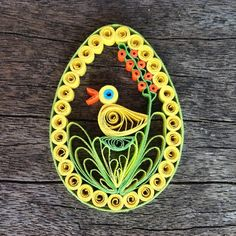 Easter Egg Paper Quilled Decoration - dark/light green,blue,orange,yellow paper…