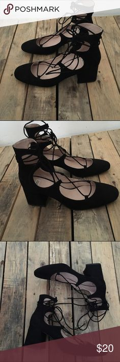 Zara Black Suede Square Heel Lace Up Flats 39 NeW Perfect condition, never worn Size 39 fits US 8.5 - 9 Zara Shoes Flats & Loafers
