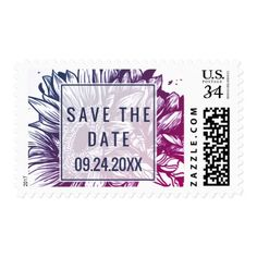 Blue and Purple Ombre Sunflowers Save the Date Postage