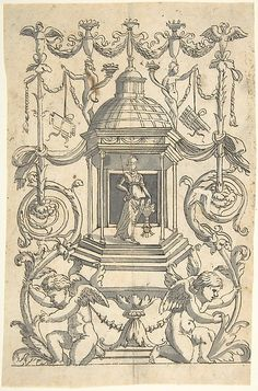 Grotesque with a Female Figure (Minerva?) in a Temple-like Structure with a Cupola Anonymous, Italian, 1540 after