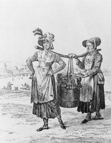 """Latrintömmerskor med dasstunna"" (""Latrine emptiers with privy barrel"") by Carl Wilhelm Swedman, Sweden, 1820's. Stockholms Stadsmuseum, nr. F 31574"