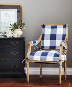 beautiful navy buffalo check --- love it! Would be perfect for living extra chair Soft Furnishings, Blue White Decor, Furniture, Beautiful Home Gardens, Chair, Home, Furnishings, Interior, White Decor