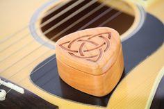 Guitar Pick Box Pattern G11 deep Solid Cherrywood Laser Engraved Paul Szewc