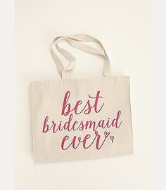 Love this bridesmaid gift idea! Fill it with goodies and give it to your best girls at the bachelorette party or the morning of the wedding. Best Bridesmaid Ever Tote Bag from David's Bridal