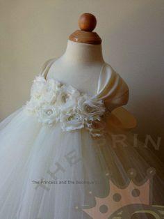 ivory flower girl dress girls dress baby by Theprincessandthebou