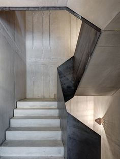 Concrete and steel staircase.