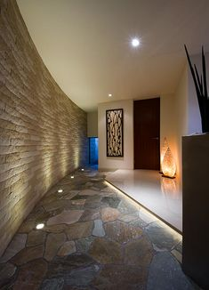 Entrance Lighting, Entrance Hall, Bali House, My House, Brick Works, Modern Contemporary Homes, Japanese House, Cool Rooms, New Homes