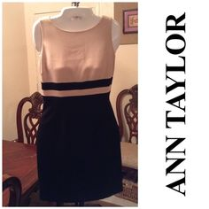 Ann Taylor Dress Sophisticated dress by Ann Taylor. Comfortable and made of 71% Triacetate and 29% Polyester. The color is black/beige.  Size 4 Petite. Laying flat Arm to Arm is 17.  The length is 33.5. In overall good condition with normal wear.  Smoke free home. ALL OFFERS through the offer button ONLY. Ann Taylor Dresses