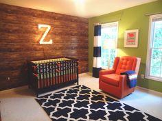 rustic and modern boys nursery, wood wallpaper, marquee letter, navy orange nursery