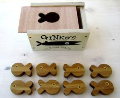 eight wooden tuna fish eco friendly stacking and von GinkoWoodworks