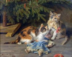 The Christmas Spat, 1883 Henriette Ronner-Knip (Dutch, 1821-1909)