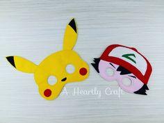 9 Pokemon Mask Set Felt Dress Up Masks Halloween by AHeartlyCraft