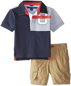 TOMMY HILFIGER Infant BOYS 2 PIECE  Polo Short SET 18 12 Months NEW NWT $48