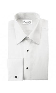 Bari White Laydown Tuxedo Shirt