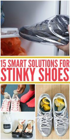 15 Smart Solutions for Stinky Shoes Make a DIY shoe spray with rubbing alcohol, apple cider vinegar and tea tree oil. This mixture works wonders! Lemon essential oil is a good alternative if you don't have tea tree oil. Tater Tots, Deep Cleaning Tips, Cleaning Hacks, Cleaning Shoes, Cleaning Blinds, Zucchini, Stinky Shoes, Remover, Clean Freak