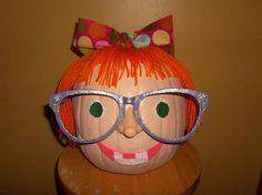 Pumpkins on parade. Junie B. Jones! Pumpkin Decorating Contest, Pumpkin Contest, Pumpkin Ideas, Pumpkin Painting, Pumpkin Carving, Halloween Pumpkins, Fall Halloween, Book Character Pumpkins, Harry Potter Pumpkin