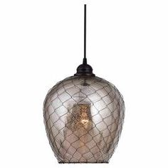 "Pendant light in oil rubbed bronze with mirrored glass and wire-mesh accents.  Product: PendantConstruction Material: Glass and wire-meshColor: Oil rubbed bronzeAccommodates: (1) 100 Watt medium base bulb - not includedDimensions: 10"" H x 9"" Diameter"