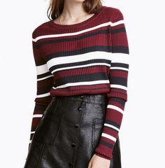 Casual color block knit sweater for women stripe pullover sweaters