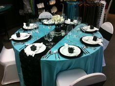 Tiffany Blue & Black Themed Wedding Table Setting - Avalon Event Rentals, Kelowna, BC