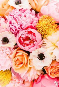 { peonies, pincushion protea, anemonies, roses }