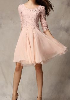 Pink Floral Beading Seven's Sleeve Lace Dress