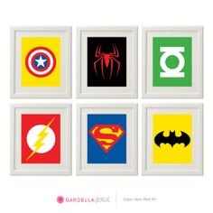 Superhero Wall Art,  Superhero Art, Superhero logos, Boys Decor, Play Room decor, Digital Files or Physical Prints