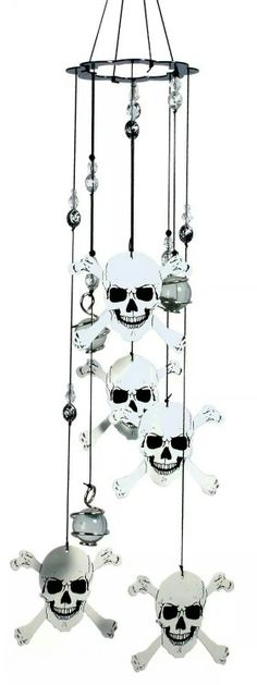 Skull and crossbones wind chime