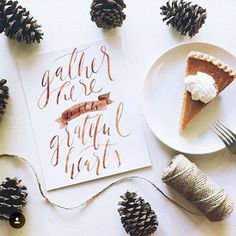perfect fall tablescape with pumpkin pie and pine cones. Flat lay                                                                                                                                                                                 More