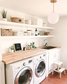Laundry day can be rough, especially when there's clutter. Clean up your laundry routine with our organization tips to take your laundry room to the next level. Laundry room organization has come a long way. From dark and disorganized, to bright and functional; laundry room's are now a focal point in the home.  Laundry room decor - farmhouse decor
