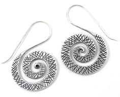 Sterling Silver Spiral EarringsEngraved Flat by SilverShapes