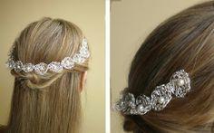 tiara de flores tejidas con hilo de plata