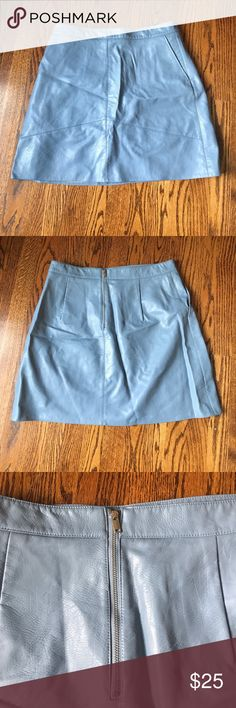 dd4527e87e Zara Leather Skirt Blue Zara leather skirt with exposed silver zipper on  back. Two pockets