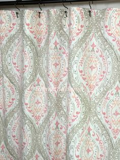 fabric shower curtain ariana coral ivory tan pink 72 x 84 108 54 x 78 stall