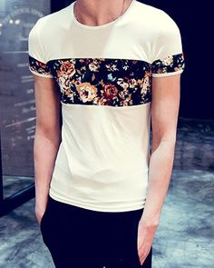 Summer Fitted Round Neck Colorful Floral Wash Painting Spliced Short Sleeves T-Shirt For Men