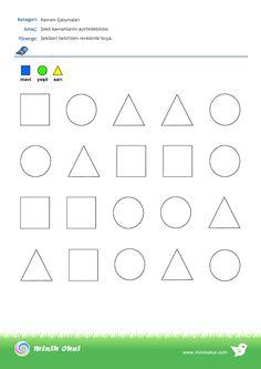 Sayfa Çalışmaları – Sayfa 3 – Minik Okul Shape Worksheets For Preschool, Shapes Worksheets, Preschool Learning Activities, Geometric Form, Pre Writing, Diy Toys, Einstein, Crafts For Kids, Maths