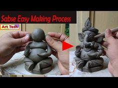 Clay Ganesha, Ganesha Art, Art For Kids, Crafts For Kids, Arts And Crafts, Ganesh Pooja, Diwali Decoration Items, Happy Ganesh Chaturthi Images, Ganesha Drawing