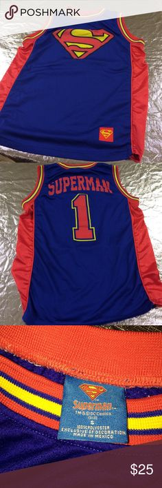 DC Comics Superman Sleeveless Jersey. Men's Small DC Comics Superman Sleeveless Jersey. Men's Small. Pre-Owned. Very Good Clean Condition. Smoke Free/Pet Free Home. DC Comics Other