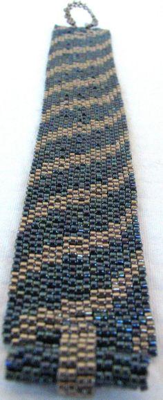Steel and Gunmetal Bargello Ribbon Peyote Cuff 2367 by SandFibers