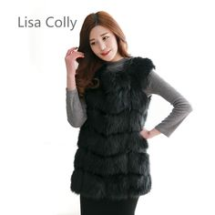 7817c3b3fd31 Lisa Colly New Women Import Fox Fur Vest Coat Warm Fur Vest Coat High-Grade Faux  Fur Vest Women's Winter Coat Jacket Outwear Size S Color Beige