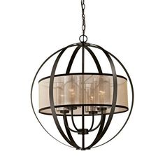 Feiss Lumiere Dark Weathered Oak And Oil Rubbed Bronze Four Light Chandelier On SALE