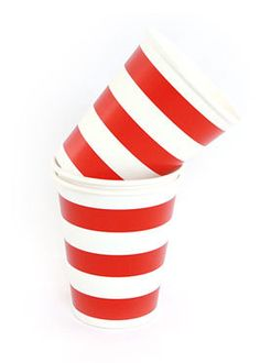 Party Time Celebrations  - Red and White Candy Stripe Cups, $6.95 (http://www.partytimecelebrations.com.au/red-and-white-candy-stripe-cups/)
