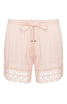 Blush Crochet Hem PJ Shorts
