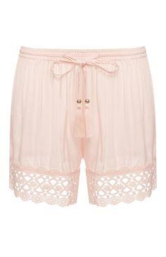 Blush Crochet Hem PJ Shorts
