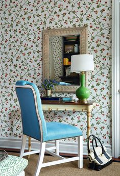 Office nook chinoiserie chic chinoiserie chic chinoiserie and i like the overall feel good desk idea for a small area the wallpaper is great i like the color of the chair voltagebd Images