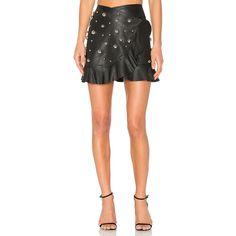 Dodo Bar Or Janis Skirt ($670) ❤ liked on Polyvore featuring skirts, real leather skirt, leather skirt, flounce hem skirt, ruffle hem skirt and genuine leather skirt