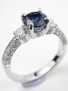 Antique Style Sapphire Engagement Ring, RG-3341a, Topazery   This regal antique style sapphire engagement ring blends breathtaking color with diamond shimmer.