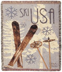 "Ski Sking USA Tapestry Throw Blanket 50"" x 60"" USA Made - With Love Home Decor"