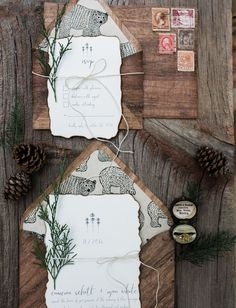 wooden invitations with bear envelope liner and tree + forest inspiration // rustic invitations