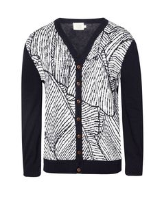 Foliage V-Neck Cardigan by 24:01. Appearing relaxed with a collection cardigan from 24:01. Foliage V-Neck Cardigan featuring classic design with abstract motifs to wood studs give statements look ethnic nuances in a masculine color combination. http://www.zocko.com/z/JJdt0
