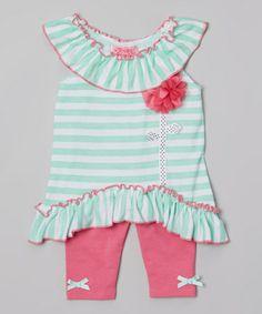 Loving this Mint Stripe Ruffle Yoke Tunic  Pink Leggings